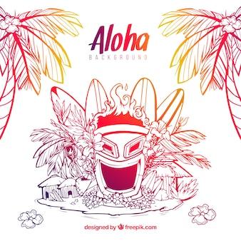 Fondo de bocetos de máscara y elementos hawaianos
