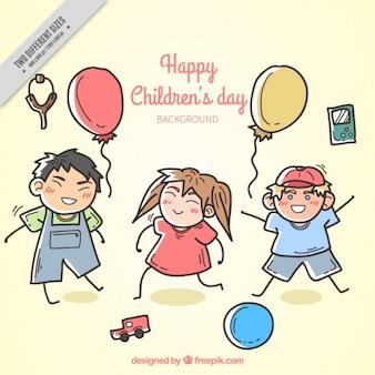 Fondo de bocetos de niños de celebración