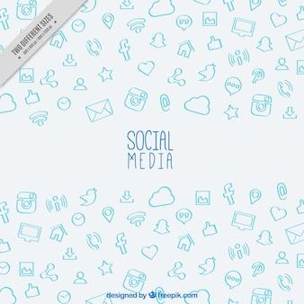 Fondo de bocetos de redes sociales dibujados a mano
