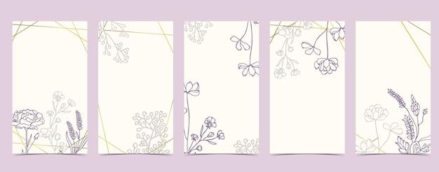 Fondo boho para redes sociales con magnolia, lavanda, flor sobre fondo blanco.