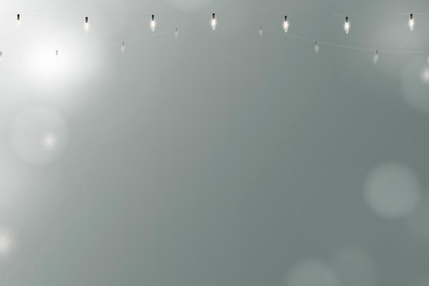 Fondo bokeh en azul con luces de cadena brillantes
