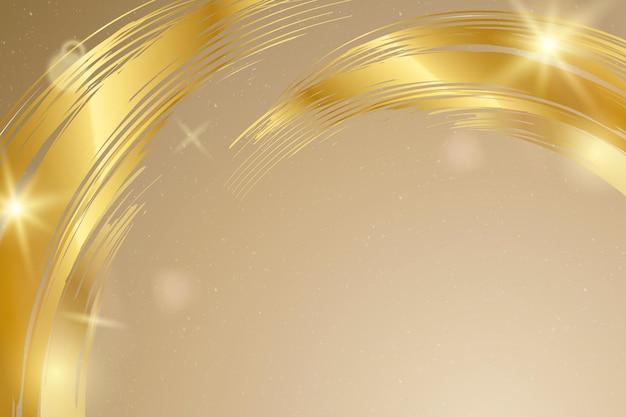 Fondo bokeh con borde de trazo de pincel dorado de lujo