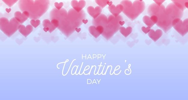 Fondo de bokeh de corazones de san valentín horizontal con luz de bengala dulce plano