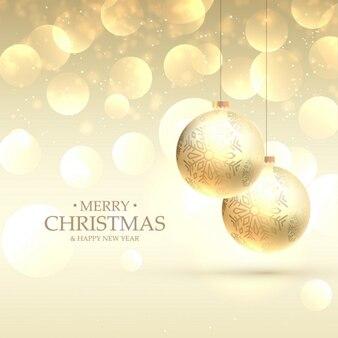Fondo bokeh dorado con bolas de navidad