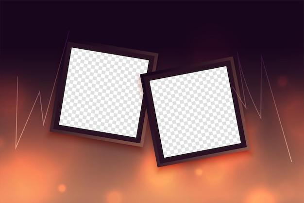 Fondo bokeh con dos marcos de fotos