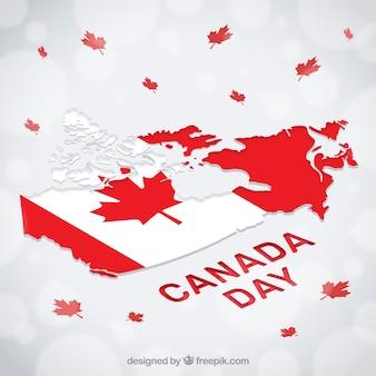 Fondo bokeh con mapa y hojas para el día de canadá