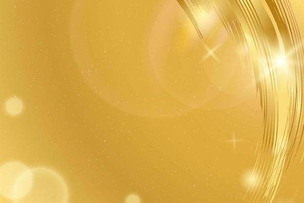 Fondo bokeh con trazo de pincel dorado de lujo