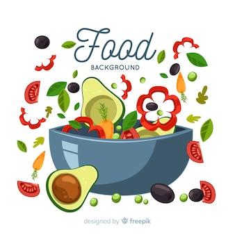 Fondo bol de verduras y frutas
