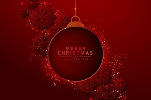 Fondo de bola de navidad colgante con efecto brillo