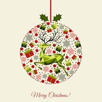 Fondo de bola de navidad con dibujos feliz año nuevo