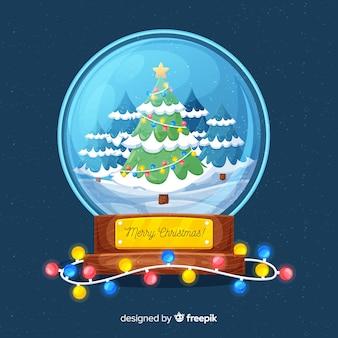 Fondo de bola de nieve de navidad
