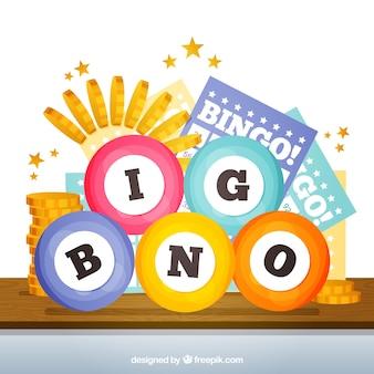 Fondo de bolas de bingo en diseño plano