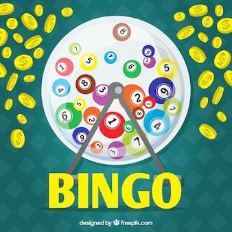 Fondo con bolas del bingo y monedas