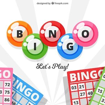 Fondo de bolas de bingo y papeletas