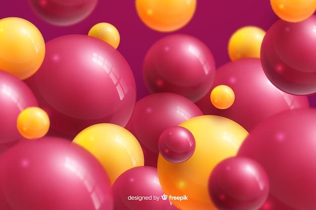 Fondo de bolas brillantes que fluye realista colorido