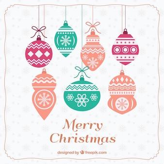 Fondo de bolas decorativas retro de navidad