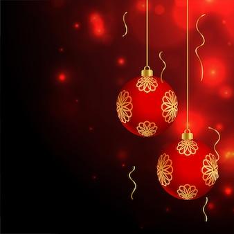 Fondo de bolas decorativas rojas de celebración de feliz navidad