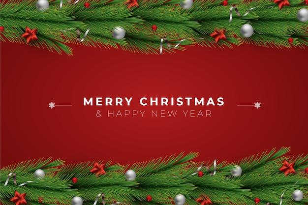 Fondo de bolas de feliz navidad de oropel