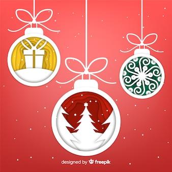 Fondo bolas de navidad decoración papel