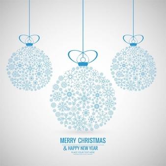 Fondo de bolas de navidad hechas de copos de nieve