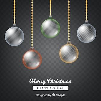 Fondo bolas de navidad transparentes