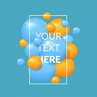 Fondo de bolas con plantilla de texto