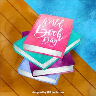 Fondo bonito de acuarela para el día internacional del libro