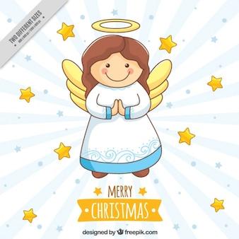 Fondo de bonito ángel y estrellas dibujadas a mano