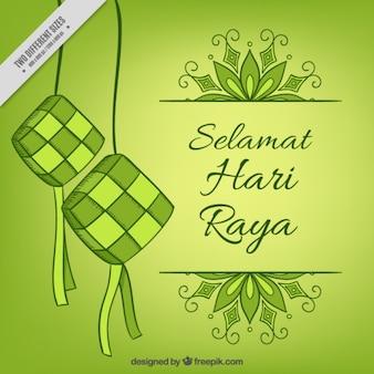 Fondo bonito de eid al-adha en tonos verdes