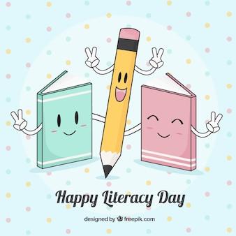 Fondo bonito del feliz día de la alfabetización
