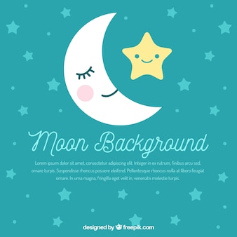 Fondo bonito de luna y estrellas