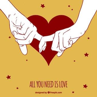 Fondo bonito de manos de pareja juntas
