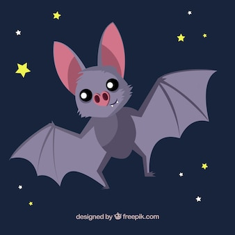 Fondo de bonito murciélago con estrellas
