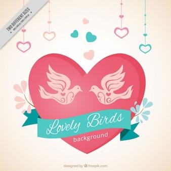 Fondo bonito con pájaros y corazones colgando