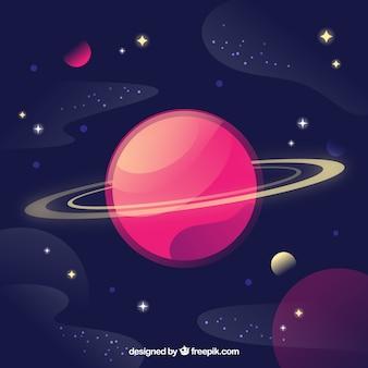 Fondo de bonito planeta y estrellas