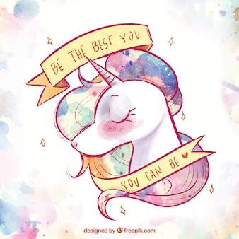 Fondo de bonito unicornio de acuarela y cinta con mensaje