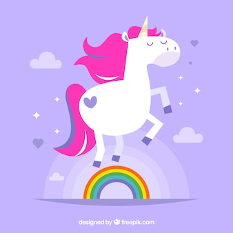 Fondo de bonito unicornio con arcoiris en diseño plano
