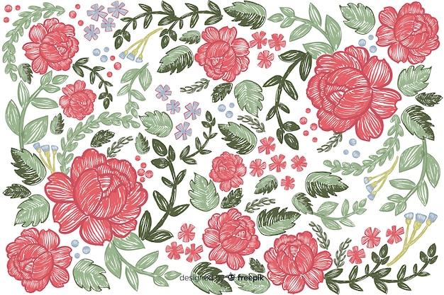 Fondo bordado floral colorido