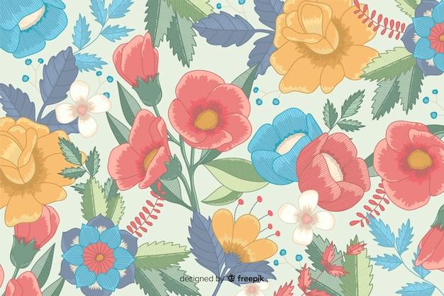Fondo bordado floral dibujado a mano