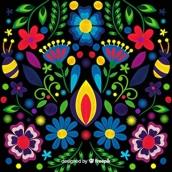 Fondo bordado floral dibujado