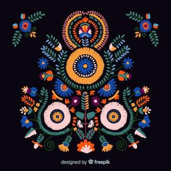 Fondo de bordado de flores mexicano