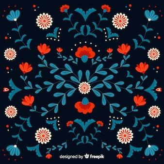 Fondo de bordado mexicano decorativo de flores