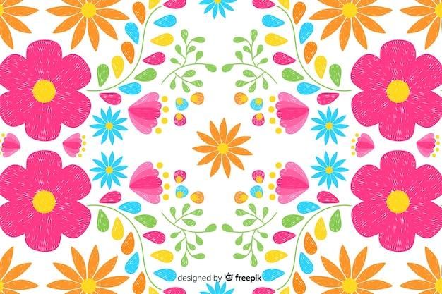 Fondo de bordado mexicano de flores