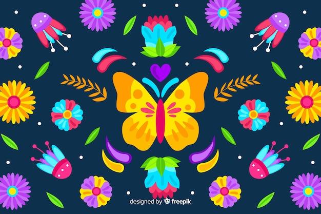 Fondo bordado tradicional mejicano floral