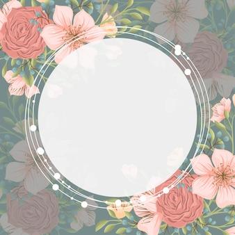 Fondo de borde floral - corona de flores rosadas
