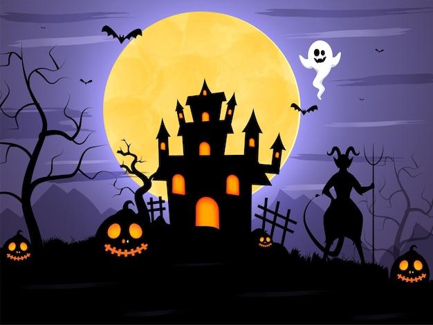 Fondo de bosque aterrador de luna llena con silueta de diablo, murciélagos volando, fantasma, linternas de jack-o y casa encantada.