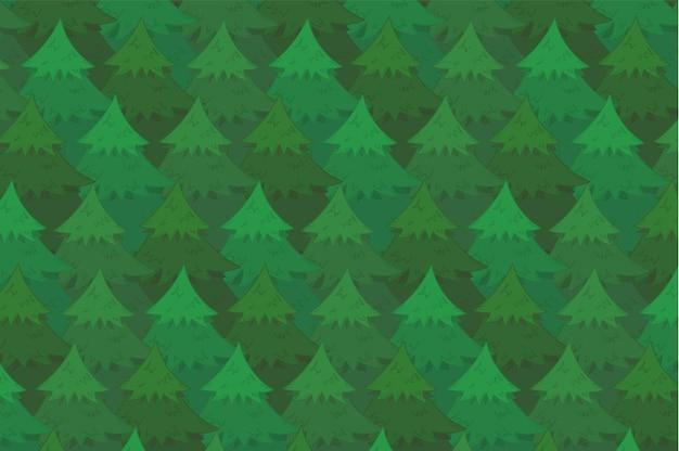 Fondo de bosque de coníferas verde brillante