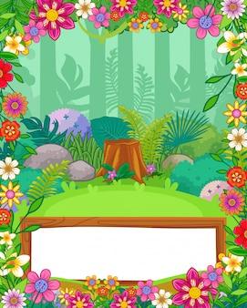 Fondo de bosque con flores y vector de madera de signo en blanco