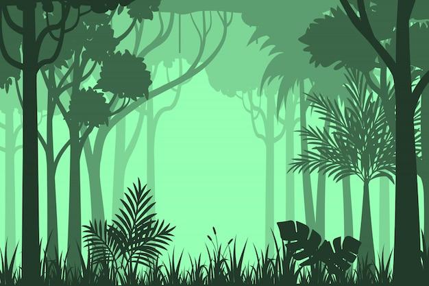 Fondo de bosque de silueta
