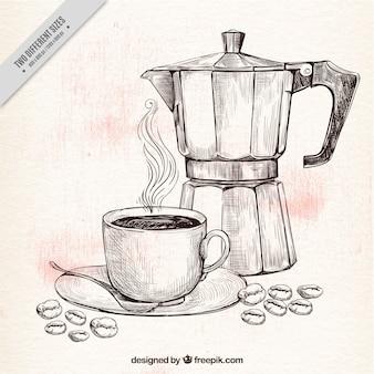 Fondo de bosquejo de cafetera y taza